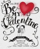 Valentine's Day Typography Art Poster — Vettoriale Stock