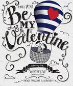 Valentine's Day Typography Art Poster — Stock Vector