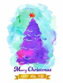 Watercolor Christmas Poster — Stock Vector