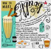 How to Make Eggnog — Stock Vector