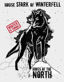 September 9, 2014: Vector illustration of the dire wolf, sigil of the House Stark of Winterfell — Stock Vector