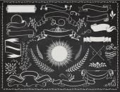 Vintage Banners on Blackboard — Stock Vector