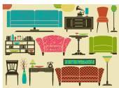 Retro Furniture and Home Accessories — Vector de stock