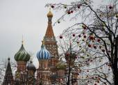 Red Square in Moscow in the winter and balls — Foto Stock