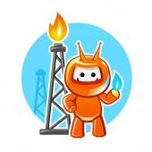 Natural Gas Industry Mascot — Stock Vector