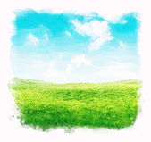 Watercolor sky and grass background — Stock Photo