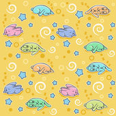 Seamless pattern with sleeping rabbits — Stock Vector