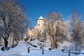 Medieval Castle in Niedzica, Poland, in winter — Stock Photo