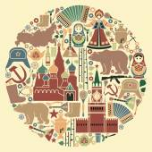 Russian icons in the form of a circle — Stock Vector