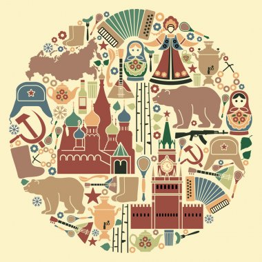 Russian icons in the form of a circle