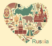 Symbols of Russia in the form of heart — Stock Vector