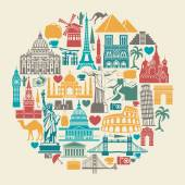 Icons world tourist attractions — Stock Vector