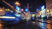 Tram at night in Zagreb — Stock Photo