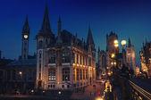 Gent, Belçika gece — Stok fotoğraf