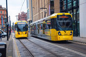 Yellow tram in Manchester, UK — Stock Photo