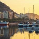 Sunrise over the Alicante harbor, Costa Blanca, Spain — Stock Photo #77496228