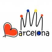 Barcelona lettering contour — Vecteur