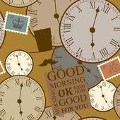 Fond marron avec des horloges — Vecteur