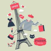 Touristic Paris background — Stock Vector