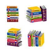Set of textbooks stacks — Vector de stock