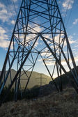 View through an electrical tower — Stock Photo