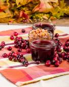 Cranberry sauce with cranberries and apple relish — Stock Photo
