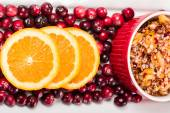 Overhead of cranberry relish with cranberries — Stock Photo