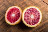 Blood orange halves on table — Stock Photo