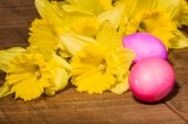 Yellow daffodils with dyed eggs — Stock Photo