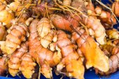 Tumeric root on display at the market — Stock Photo