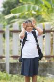 Little lady in student suit — Stock Photo