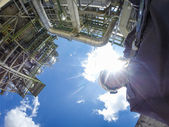 Man in refinery plant — Stock Photo