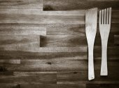 Wooden fork and spatula — Stock Photo