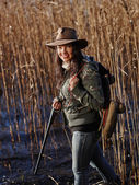 Female duck hunter — Stock Photo