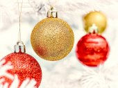 Christmas ornaments and tree — Stock Photo