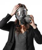 Young adult woman and gas mask — Stock Photo