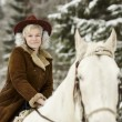 White horse and riding woman — Stock Photo #64358433