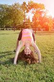 Girl in sunset relax — Stock Photo