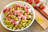 エンドウ豆とベーコン — ストック写真