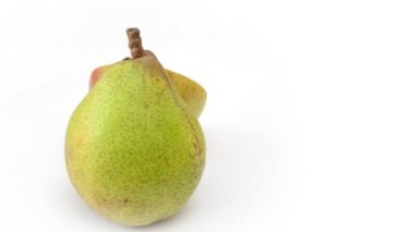 Pear rotating on white background — Stock Video