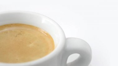 Cup of coffee rotating on white background — Stock Video