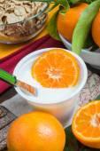Yogurt with orange — Stock Photo