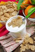 Yogurt with cereals — Stock Photo