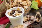 Yogurt with cereal and coffee — Stock Photo