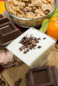 Yogurt with chocolate — Stock Photo