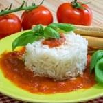Rice with tomato sauce — Stock Photo #68604495