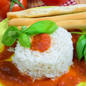 Rice with tomato sauce — Stock Photo