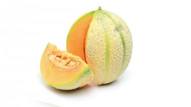 Cantalupo melon on white background — Stock Video