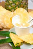 Yogurt with pineapple — Stock Photo