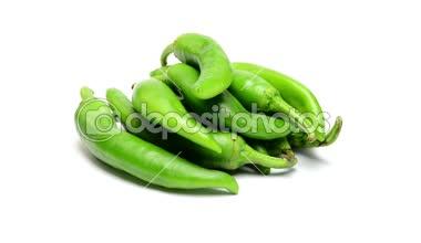 Green pepper  on white background — Stock Video